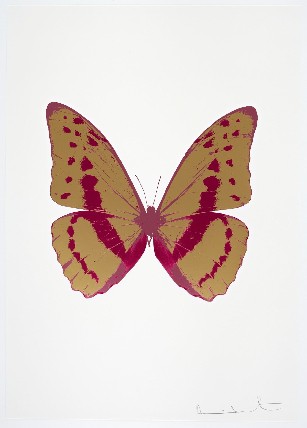 Damien Hirst The Souls III - Hazy Gold/Fuchsia Pink/Loganberry Pink, 2010 3 colour foil block on 300gsm Arches 88 archival paper. Signed and numbered. Published by Paul Stolper and Other Criteria 72 x 51cm OC7955 / 660-58 Edition of 15