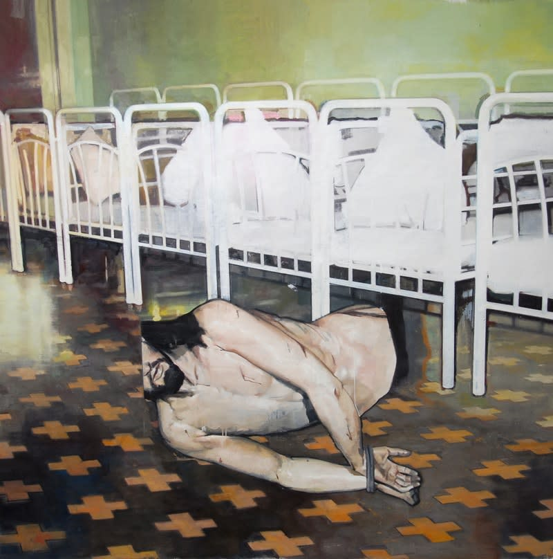 Andrew Hollis Interior with Cots and Statue, 2010 Oil and acrylic on linen. Signed, titled and dated by the artist en verso. 150 x 150 cm 59.1 x 59.1 in