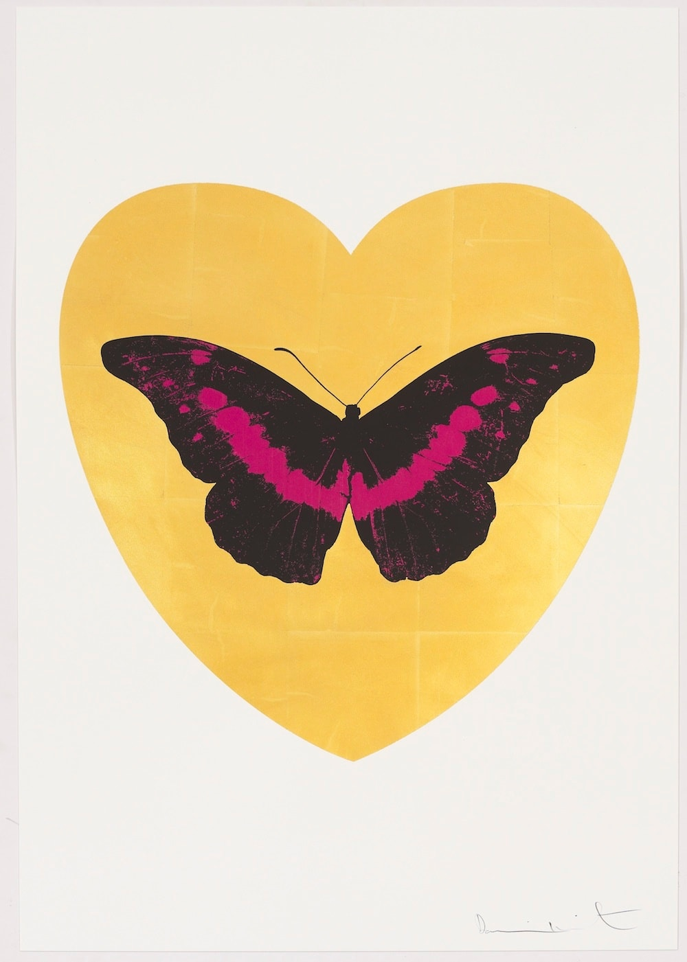 Damien Hirst I Love You - gold leaf, black, fuchsia, 2015 Gold leaf and 2 colour foil block on Somerset Satin 410gsm. OC10331 100 x 70 cm Edition of 14 Signed and numbered