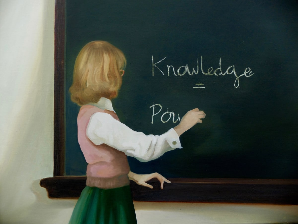 Grace O'Connor Knowledge is Power, 2016 Oil on canvas. Signed on verso 40.5 x 50.5 cm