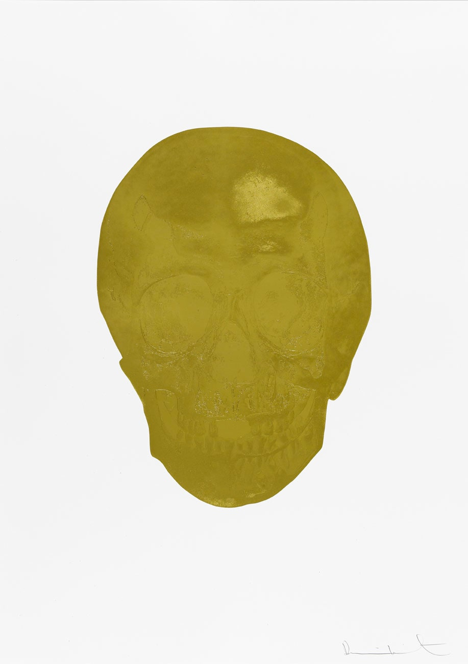 Damien Hirst Death Or Glory Hazy Gold/Hazy Gold Glorious Skull, 2011 2 colour foil block on 300gsm Arches 88 archival paper. Signed and numbered. Published by Paul Stolper and Other Criteria. White aluminium powder coated frame. 72 x 51 cm; Framed 76.8 x 55.8 cm OC8361 Edition of 2