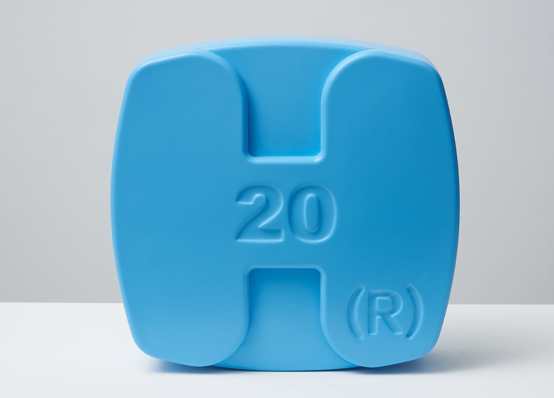 Damien Hirst Hygroton (Blue) Polyurethane resin with ink pigment. 2014. Edition of 30. Numbered, signed and dated in the cast. Published by Paul Stolper and Other Criteria. OC10059 / DHS18301 H 30 x W 30 x D 9 cm H 11.8 x W 11.8 x D Edition of 30