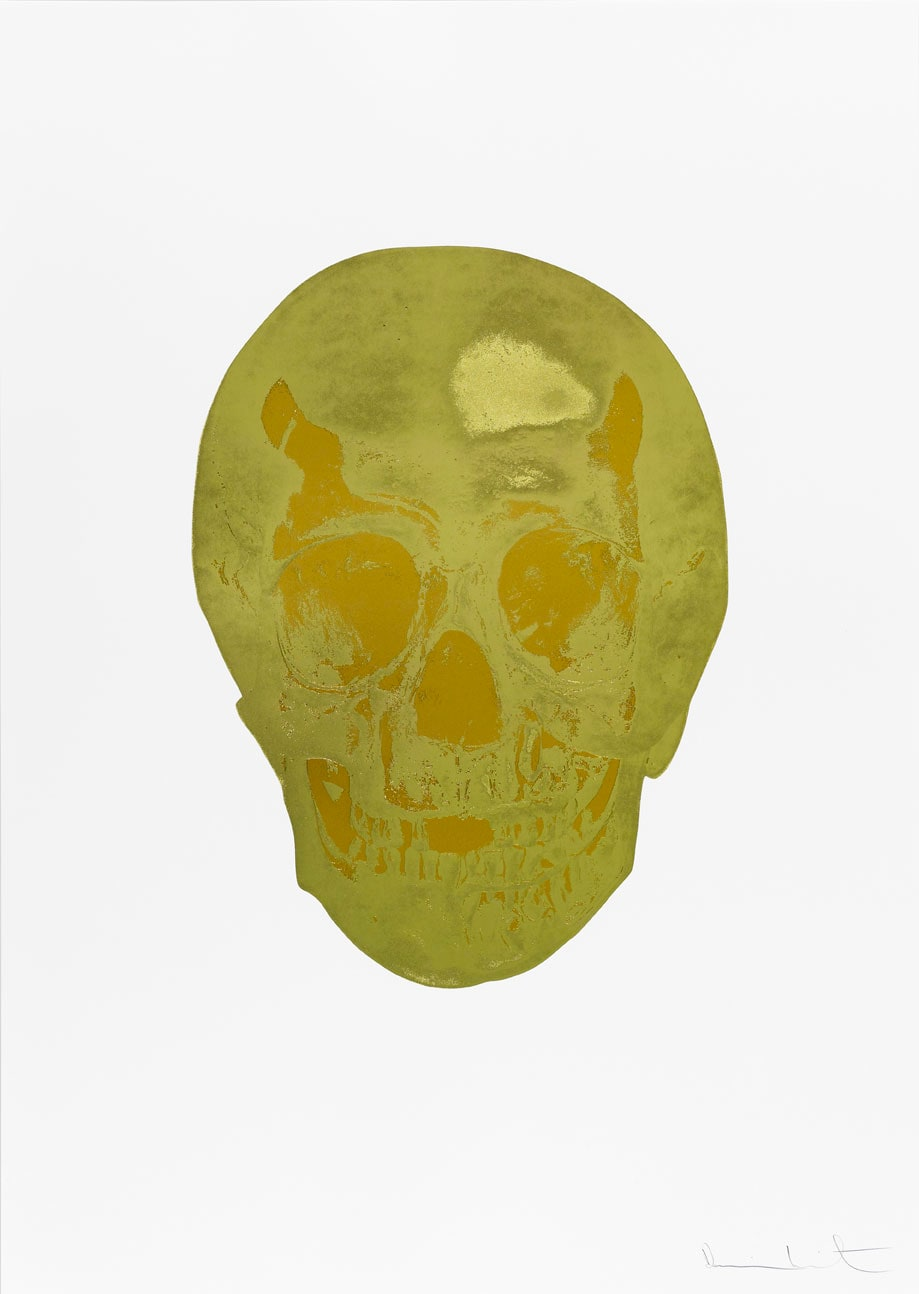 Damien Hirst Death Or Glory Grafix Gold/European Gold Glorious Skull, 2011 2 colour foil block on 300gsm Arches 88 archival paper. Signed and numbered. Published by Paul Stolper and Other Criteria. White aluminium powder coated frame. 72 x 51 cm; Framed 76.8 x 55.8 cm OC8382 Edition of 2