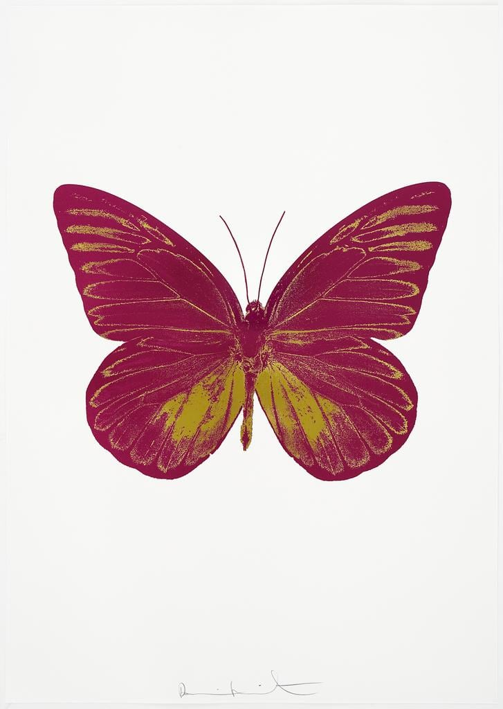 Damien Hirst The Souls I - Fuchsia Pink/Oriental Gold, 2010 2 colour foil block on 300gsm Arches 88 archival paper. Signed and numbered. Published by Paul Stolper and Other Criteria 72 x 51cm OC7805 / 659-68 Edition of 15