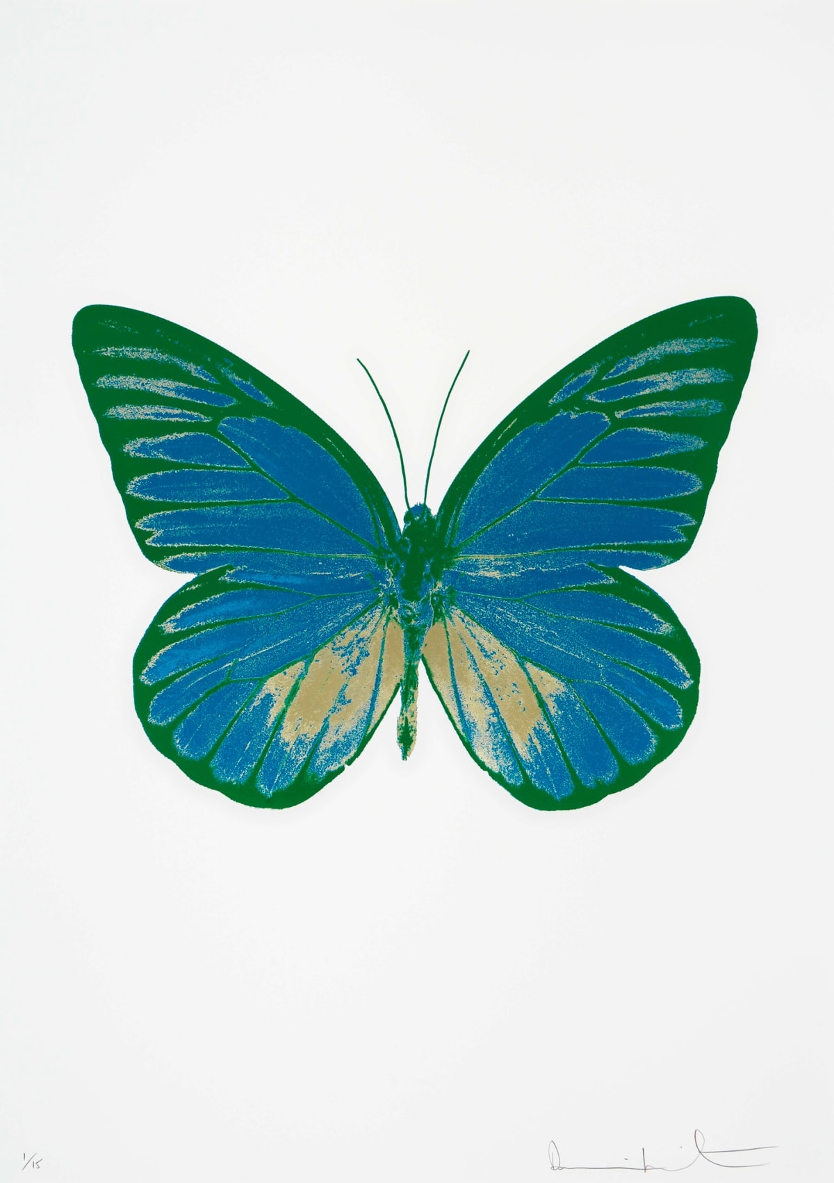Damien Hirst The Souls I - Turquoise/Cool Gold/Emerald Green, 2010 3 colour foil block on 300gsm Arches 88 archival paper. Signed and numbered. Published by Paul Stolper and Other Criteria 72 x 51cm OC7770 / 659-33 Edition of 15