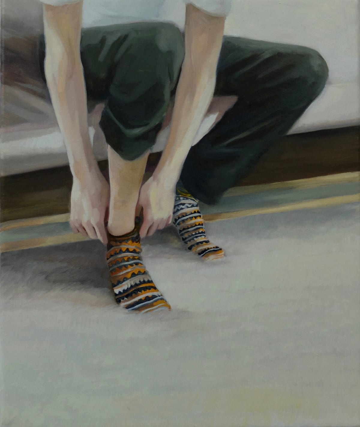 Grace O'Connor Disrupted stripe, 2015 Oil on canvas. Signed on verso 25.5 x 30.5 cm