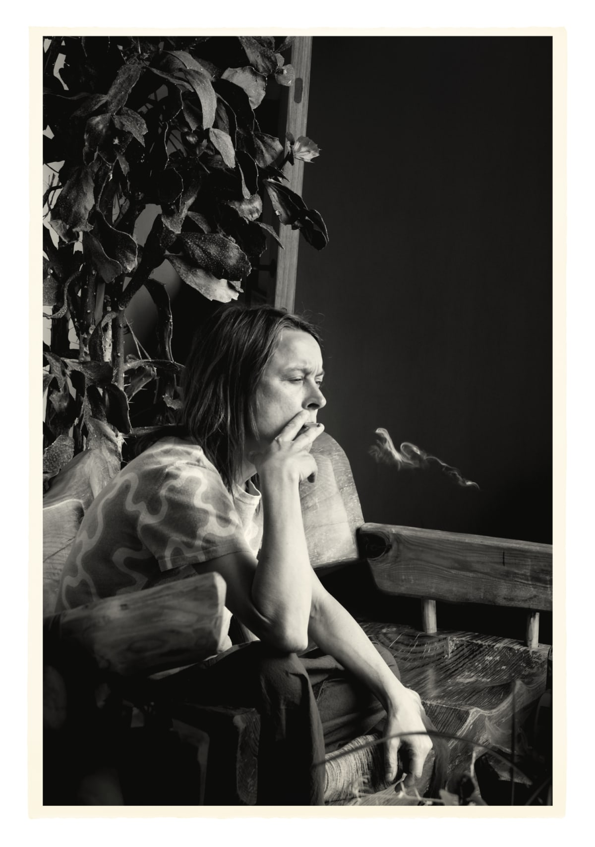 Julian Simmons SARAH SMOKING, 2014 Inkjet print on Velin BFK Rives, 100% cotton rag 280gsm. Signed, numbered and dated on verso. Sheet size: 112.5 x 76.5 cm Edition of 6