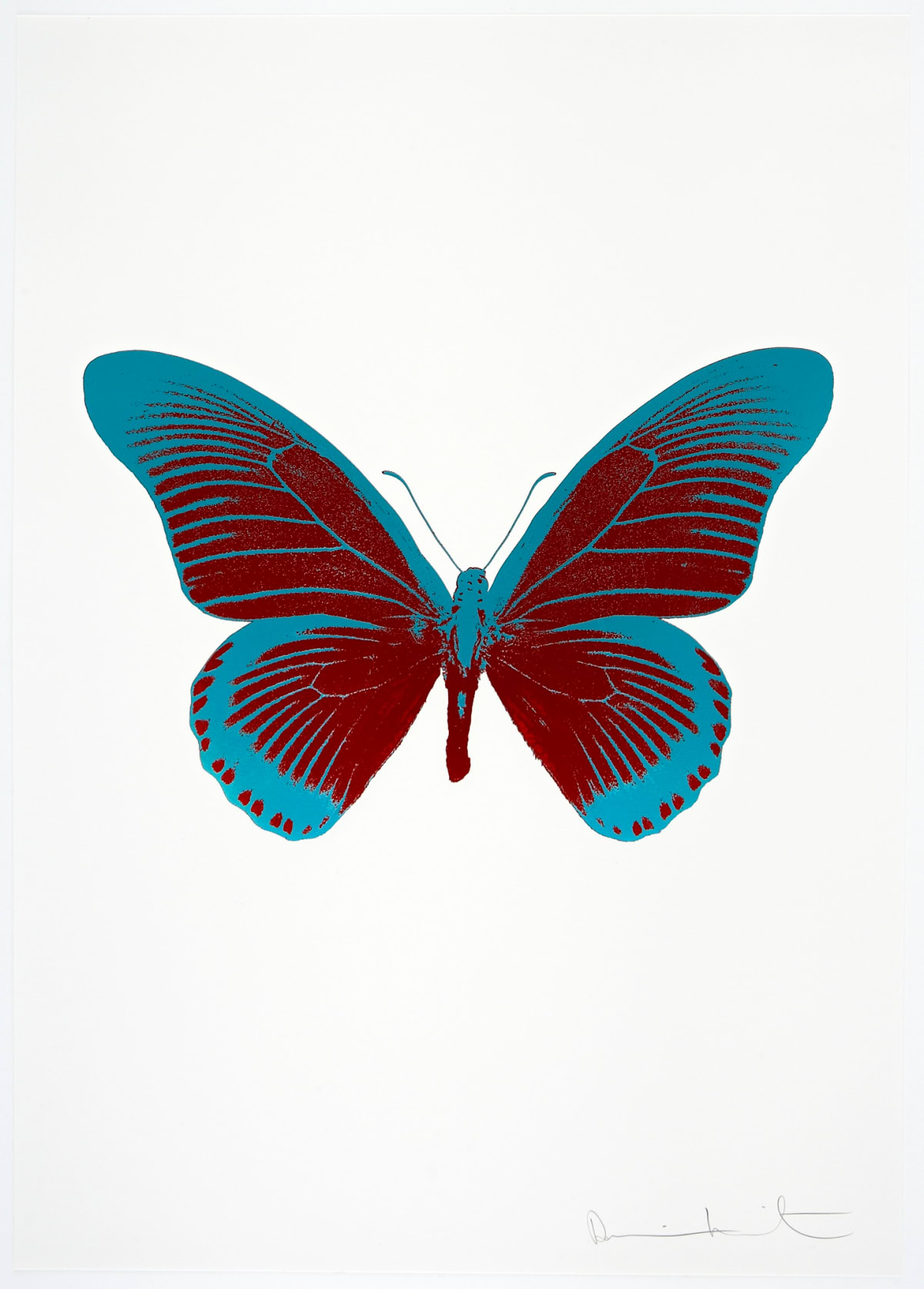 Damien Hirst The Souls IV - Chilli Red/Topaz Damien Hirst butterfly foil print for sale Damien Hirst print for sale , 2010 2 colour foil block on 300gsm Arches 88 archival paper. Signed and numbered. Published by Paul Stolper and Other Criteria 72 x 51cm OC8004 / 1418-27 Edition of 15