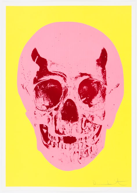 Damien Hirst Heaven Lemon Yellow Pigment Pink Chilli Red Pop Skull, 2012 Silkscreen,glaze and foilblock on 410gsm Somerset Satin. Signed and numbered. Published by Paul Stolper and Other Criteria. OC9417 52.2. x 37 cm Edition of 50