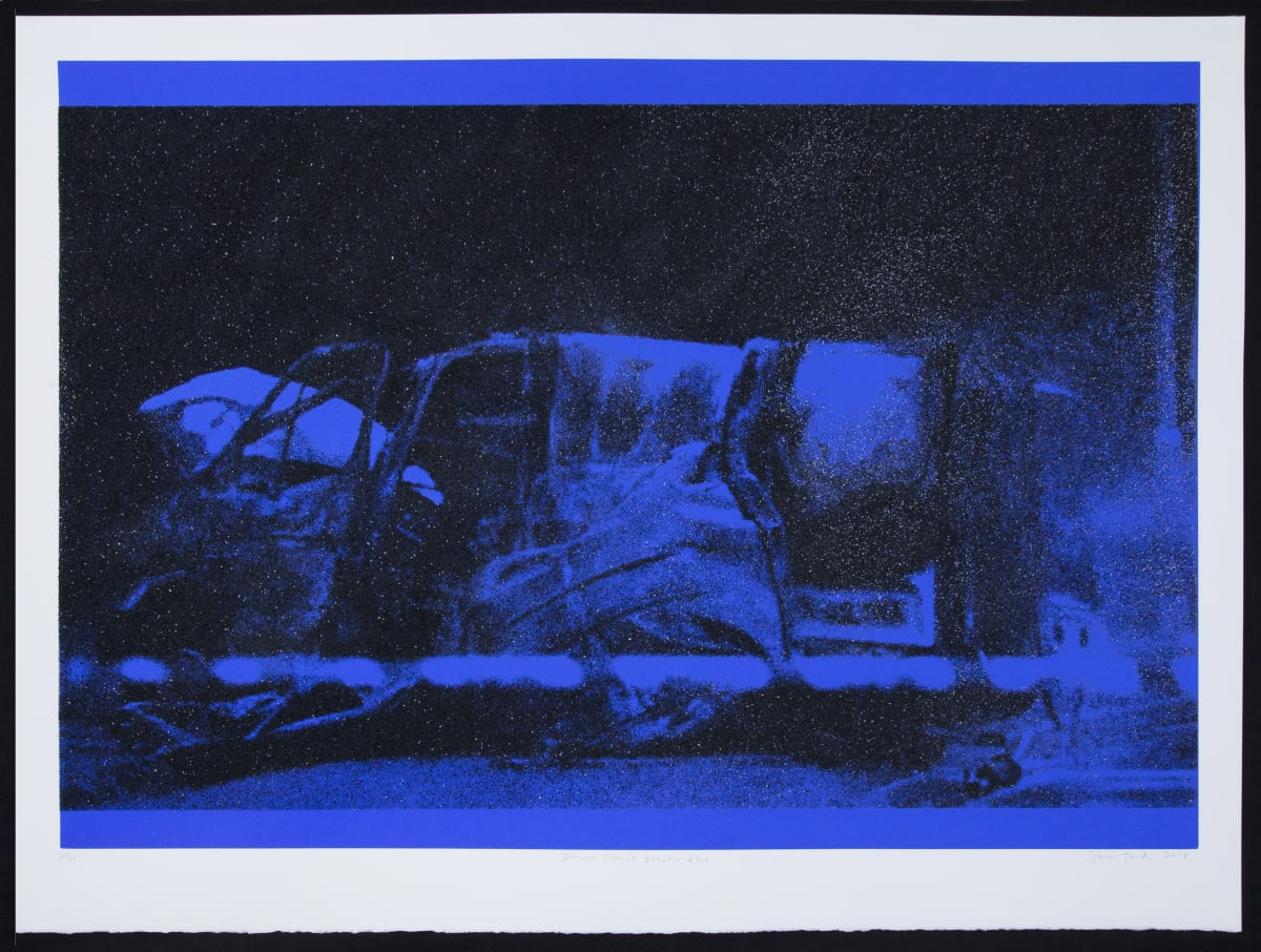 Gavin Turk Diamond Transit Disaster Blue, 2018 Silkscreen and diamond dust on 410gsm Somerset Tub sized satin. Editions 1-15 available only as a set. Editions 16-30 available individually 76.5 x 102 cm Edition of 30 Signed, titled, dated and numbered