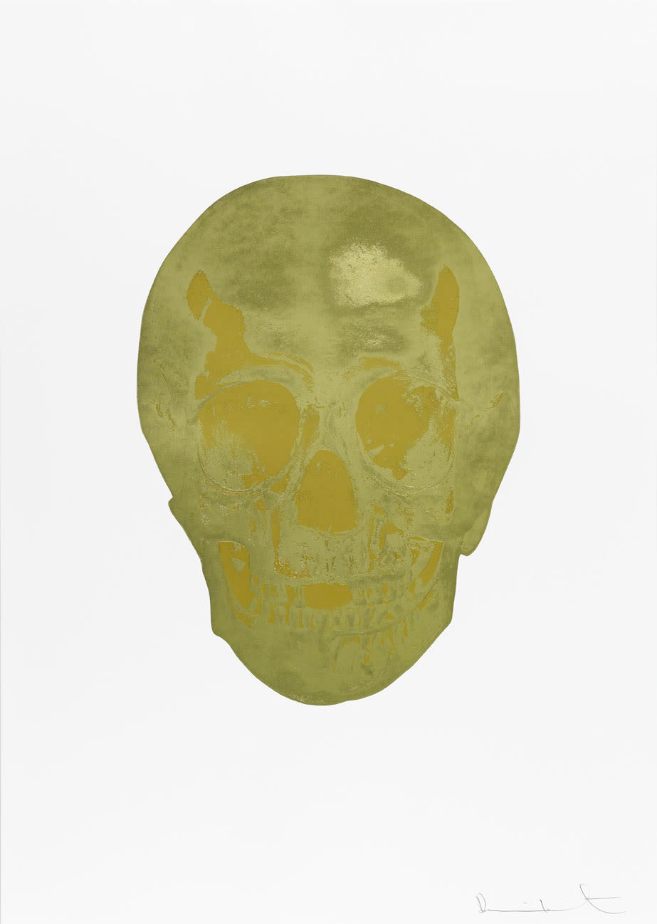 Damien Hirst Death Or Glory Cool Gold/Hazy Gold Glorious Skull, 2011 2 colour foil block on 300gsm Arches 88 archival paper. Signed and numbered. Published by Paul Stolper and Other Criteria. White aluminium powder coated frame. 72 x 51 cm; Framed 76.8 x 55.8 cm OC8367 Edition of 2
