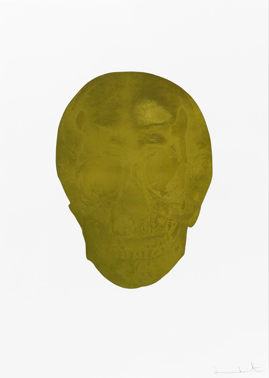 Damien Hirst Death Or Glory Sunset Gold/Blind Impression Glorious Skull, 2011 2 colour foil block on 300gsm Arches 88 archival paper. Signed and numbered. Published by Paul Stolper and Other Criteria. White aluminium powder coated frame. 72 x 51 cm; Framed 76.8 x 55.8 cm OC8358 Edition of 2