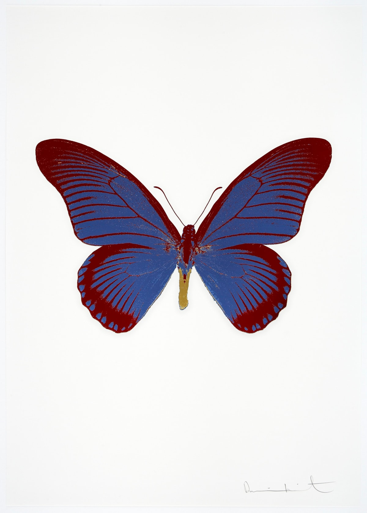 Damien Hirst The Souls IV - Frost Blue/Chilli Red/Oriental Gold, 2010 3 colour foil block on 300gsm Arches 88 archival paper. Signed and numbered. Published by Paul Stolper and Other Criteria 72 x 51cm OC8026 / 1418-49 Edition of 15