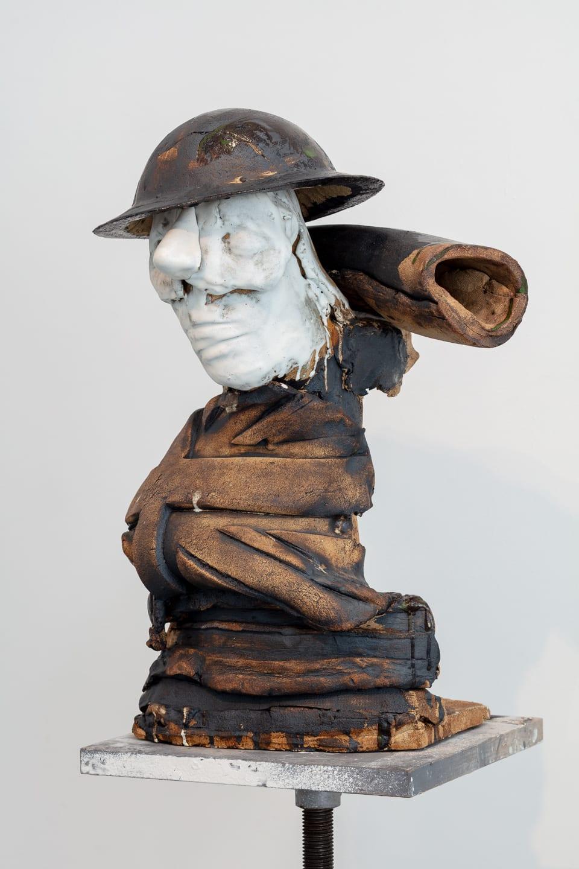 Marcus Harvey Tommy, 2018 Glazed stoneware, steel and wood 168 x 62 x 52 cm