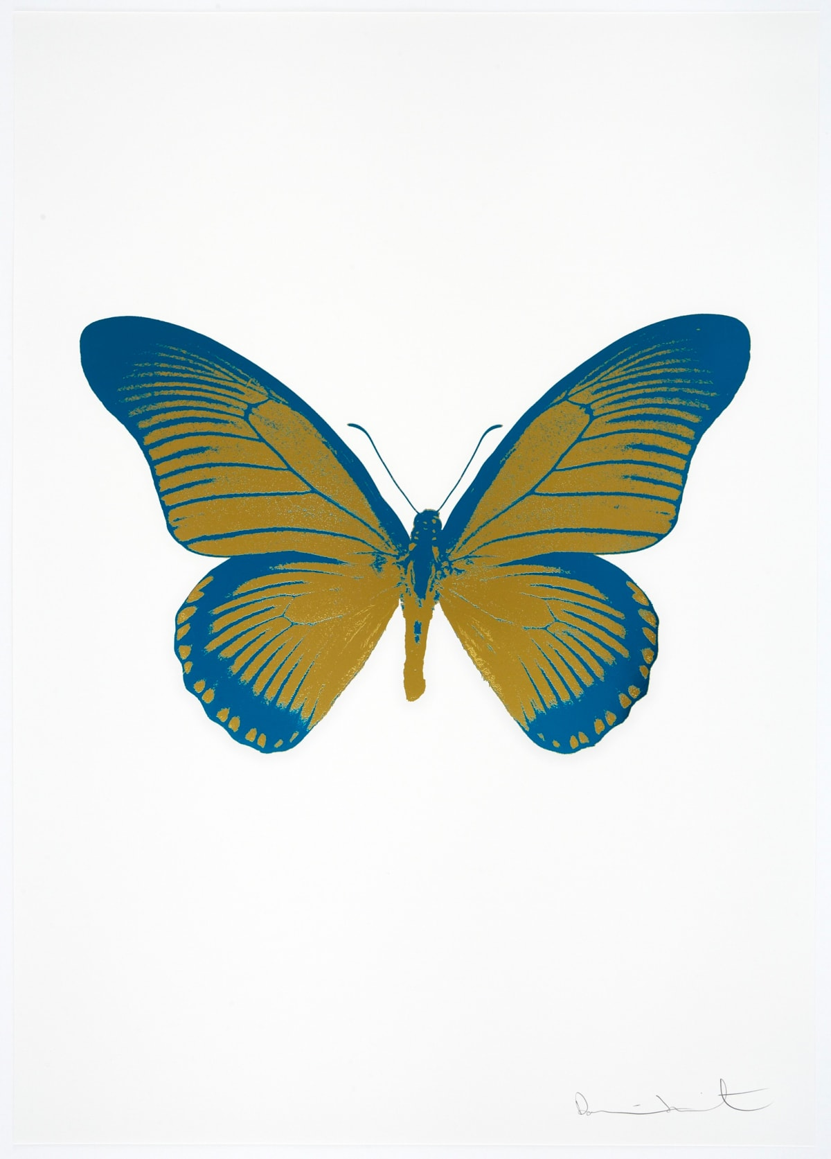Damien Hirst The Souls IV - Oriental Gold/Turquoise Damien Hirst butterfly foil print for sale Damien Hirst print for sale , 2010 2 colour foil block on 300gsm Arches 88 archival paper. Signed and numbered. Published by Paul Stolper and Other Criteria 72 x 51cm OC7993 / 1418-16 Edition of 15