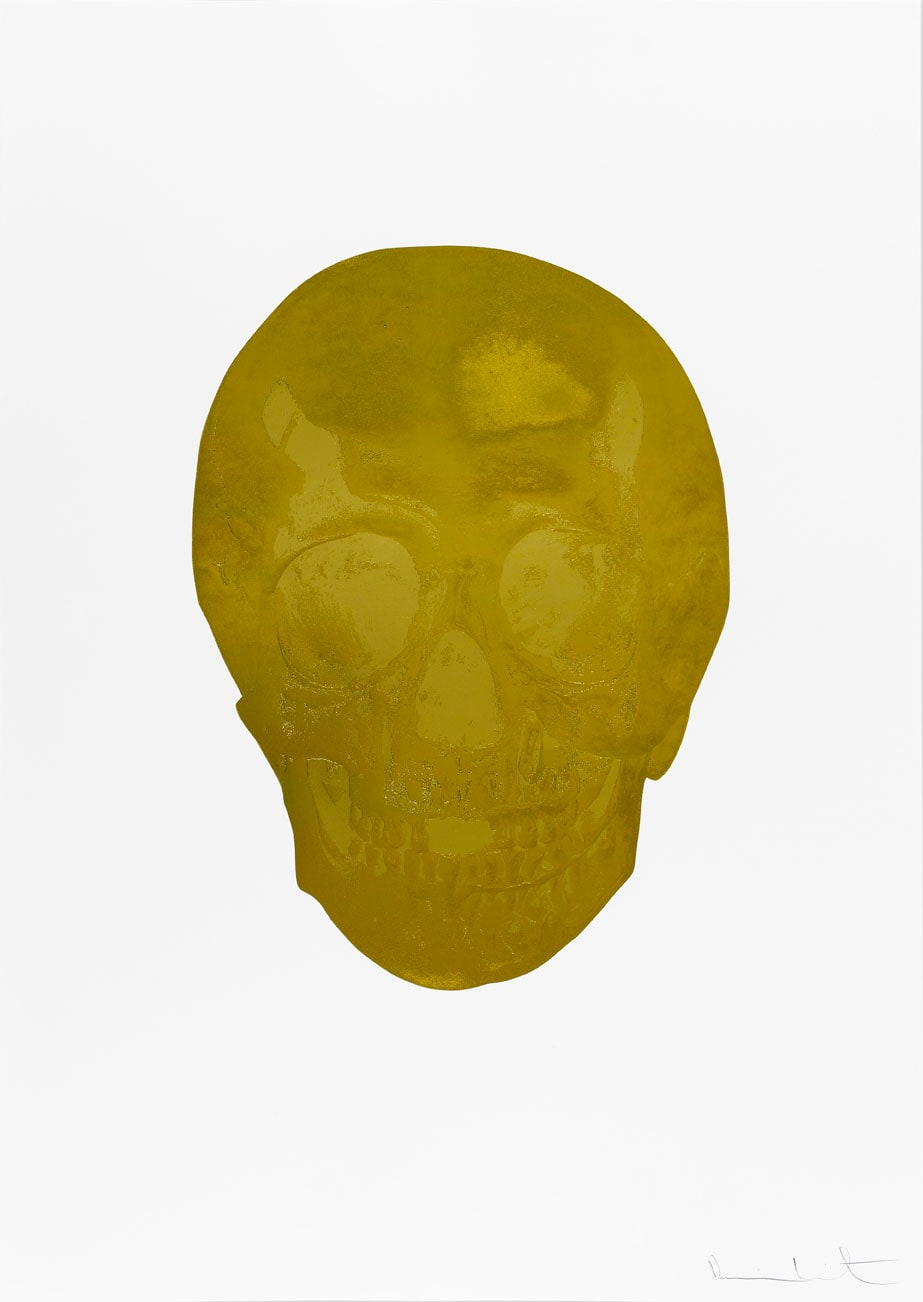Damien Hirst Death Or Glory Luxury Gold/African Gold Glorious Skull, 2011 2 colour foil block on 300gsm Arches 88 archival paper. Signed and numbered. Published by Paul Stolper and Other Criteria. White aluminium powder coated frame. 72 x 51 cm; Framed 76.8 x 55.8 cm OC8385 Edition of 2