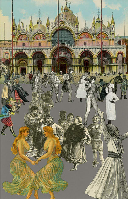 Peter Blake Venice - 'Dancing', 2009 Silkscreen printed on 400gsm Somerset tub Sized. Signed and numbered by the artist 40.65 x 30.5 cm Edition of 75