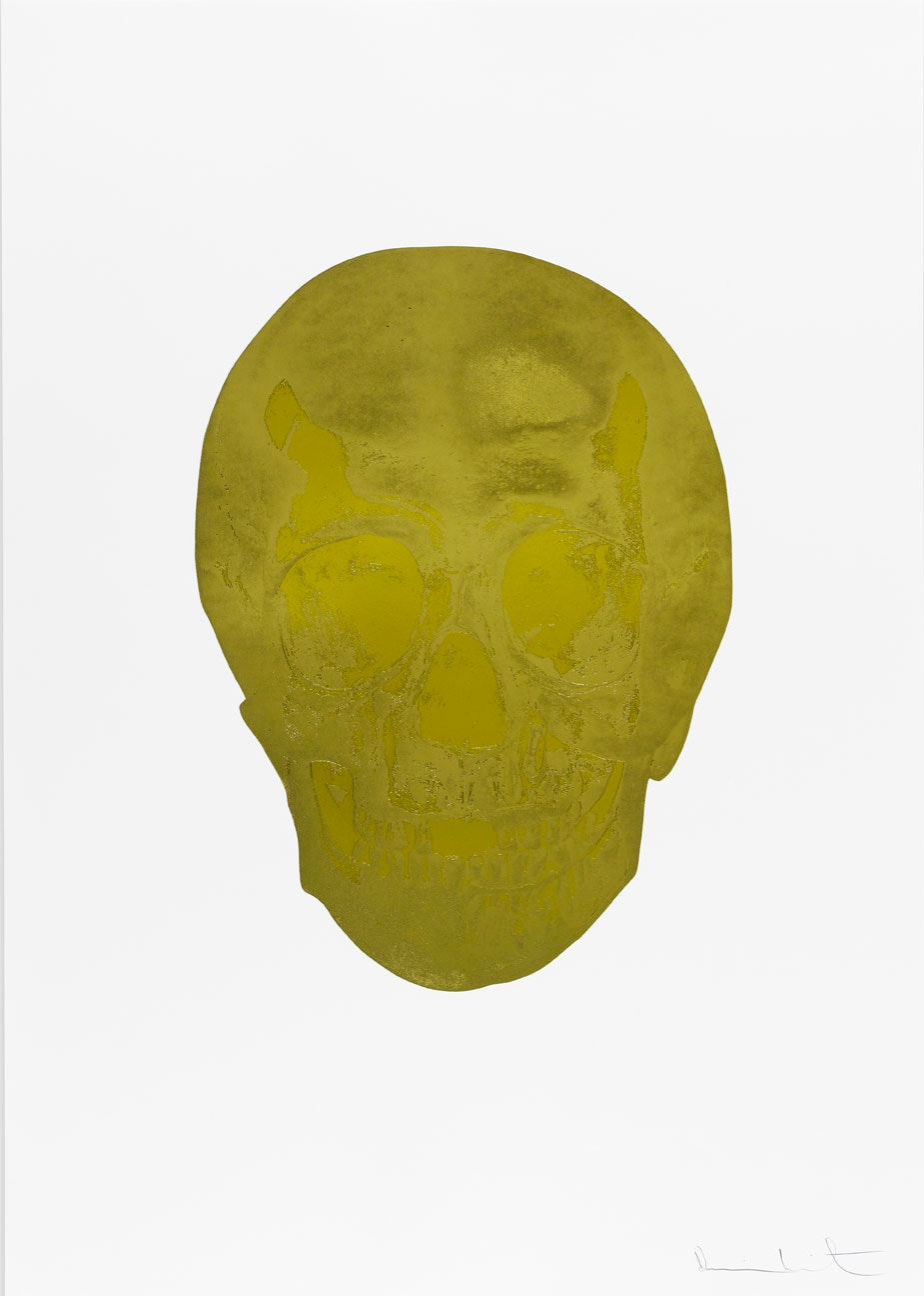 Damien Hirst Death Or Glory Sunset Gold/Oriental Gold Glorious Skull, 2011 2 colour foil block on 300gsm Arches 88 archival paper. Signed and numbered. Published by Paul Stolper and Other Criteria. White aluminium powder coated frame. 72 x 51 cm; Framed 76.8 x 55.8 cm OC8372 Edition of 2