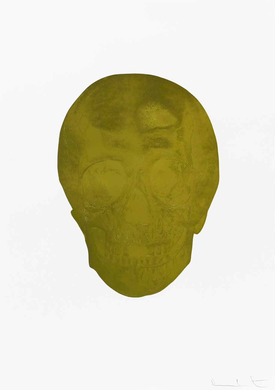Damien Hirst Death Or Glory Sunset Gold/Sunset Gold Glorious Skull, 2011 2 colour foil block on 300gsm Arches 88 archival paper. Signed and numbered. Published by Paul Stolper and Other Criteria. White aluminium powder coated frame. 72 x 51 cm; Framed 76.8 x 55.8 cm OC8359 Edition of 2