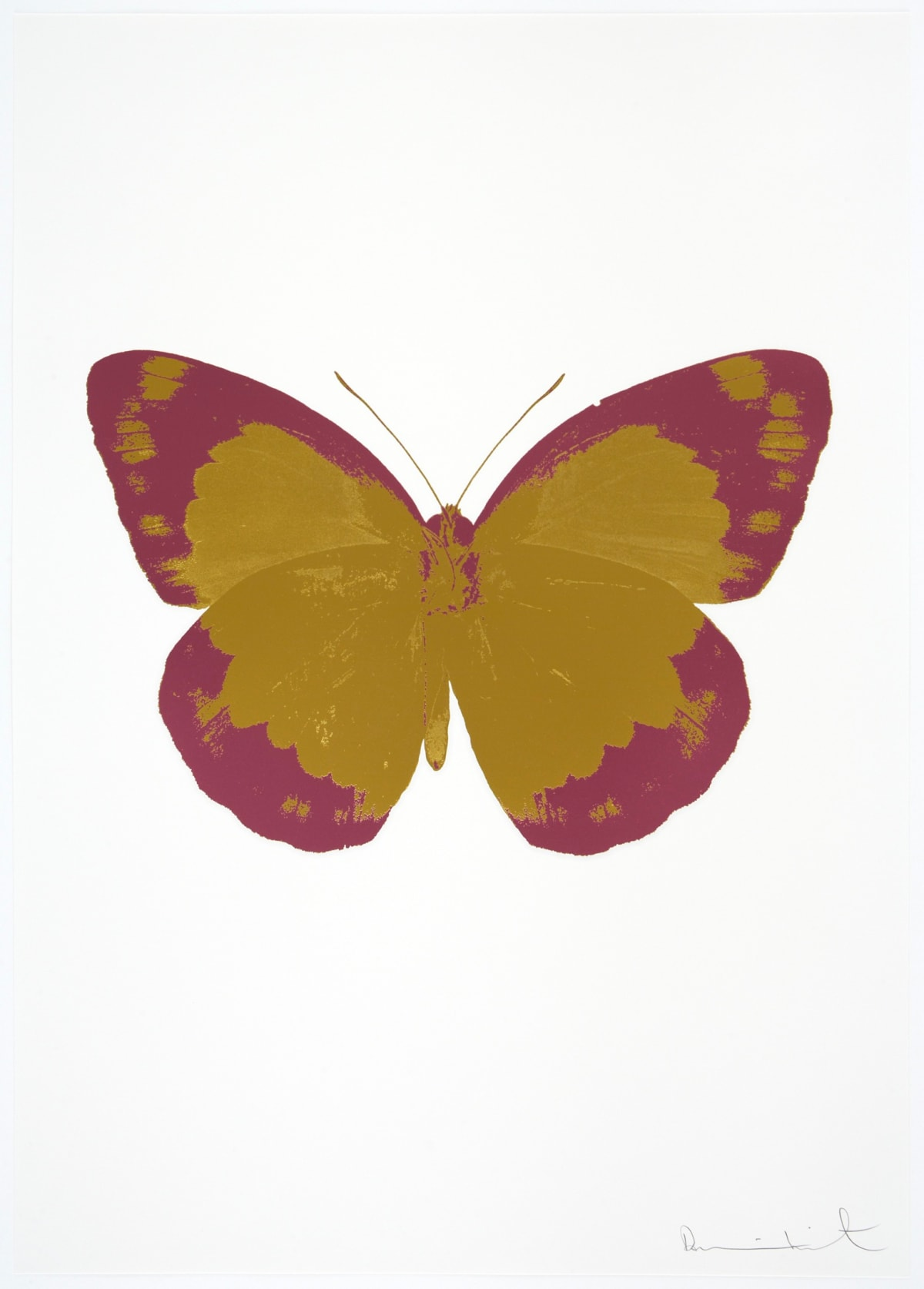Damien Hirst The Souls II - Oriental Gold/ Loganberry Pink/Blind Impression, 2010 2 colour foil block on 300gsm Arches 88 archival paper. Signed and numbered. Published by Paul Stolper and Other Criteria 72 x 51cm OC7841 / 658-24 Edition of 15