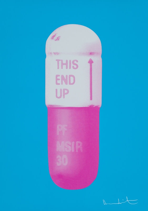 Damien Hirst The Cure - Vivid Blue/Cloudy Pink/Candy Floss Pink, 2014 Silkscreen on Somerset Tub Sized 410gsm. Signed and numbered. Published by Paul Stolper and Other Criteria. 72 x 51 cm OC10229 / DHP18621 Edition of 15
