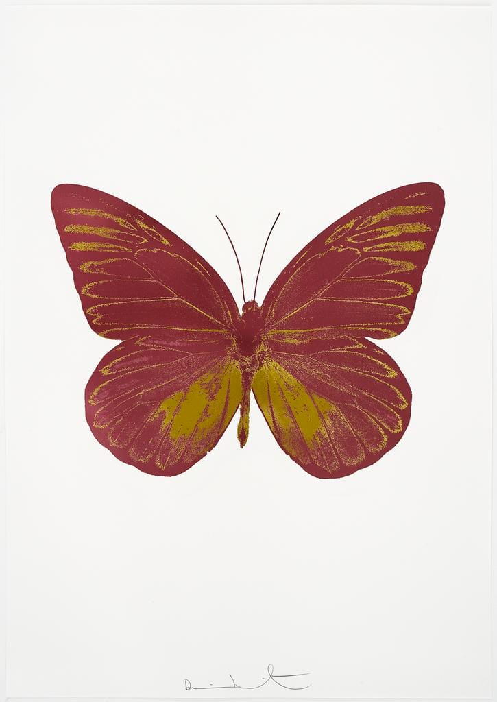 Damien Hirst The Souls I - Loganberry Pink/Oriental Gold, 2010 2 colour foil block on 300gsm Arches 88 archival paper. Signed and numbered. Published by Paul Stolper and Other Criteria 72 x 51cm OC7808 / 659-71 Edition of 15
