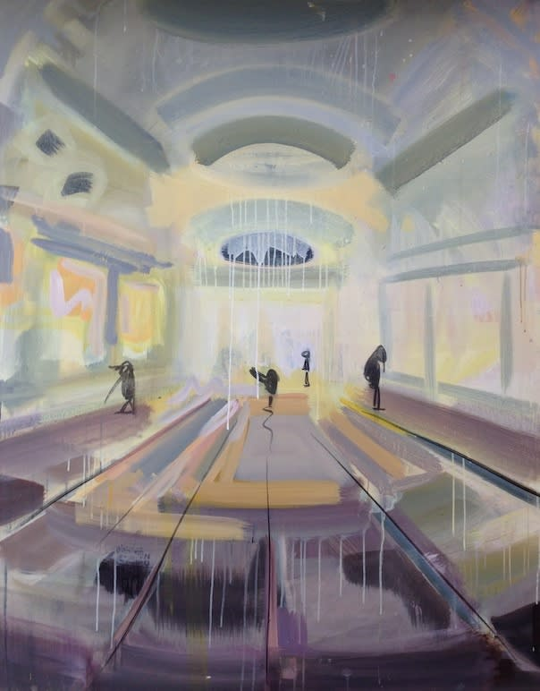 Susie Hamilton Yellow Mall, 2014 Acrylic on canvas. Signed, titled and dated 152 x 122 cm