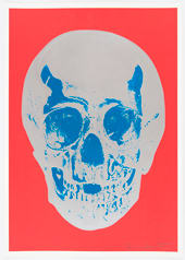 Damien Hirst Coral Red Silver Gloss True Blue Skull, 2012 Silkscreen,glaze and foilblock on 410gsm Somerset Satin. Signed an numbered. Published by Paul Stolper and Other Criteria. Image size: 50.2 x 35 cm / Sheet size: 52.2. x 37 cm Image size 19.8 x 13.8 in Sheet ed.DC1