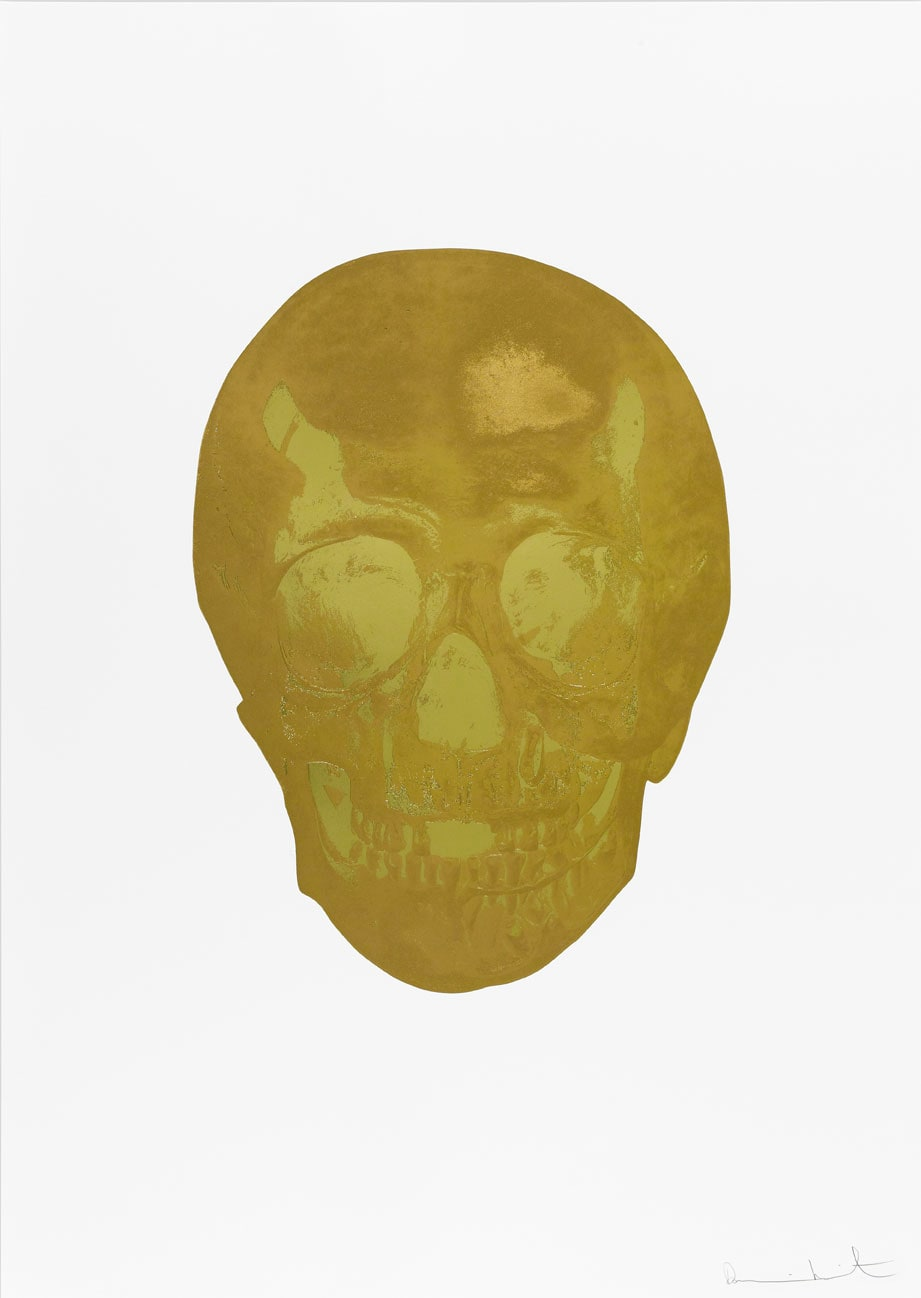 Damien Hirst Death Or Glory Autumn Gold/Sunset Gold Glorious Skull, 2011 2 colour foil block on 300gsm Arches 88 archival paper. Signed and numbered. Published by Paul Stolper and Other Criteria. White aluminium powder coated frame. 72 x 51 cm; Framed 76.8 x 55.8 cm OC8386 Edition of 2