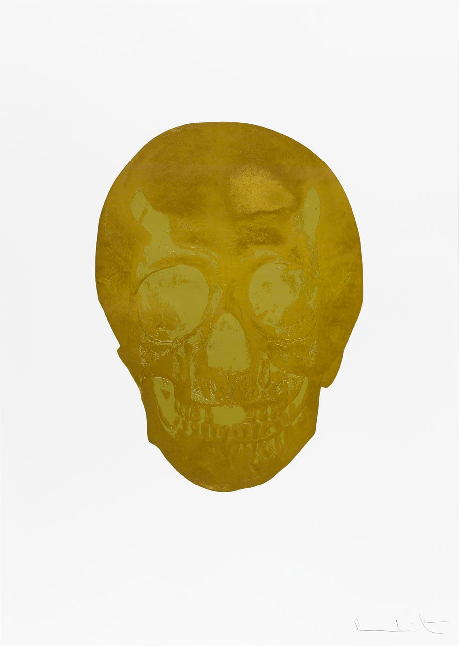 Damien Hirst Death Or Glory European Gold/Hazy Gold Glorious Skull, 2011 2 colour foil block on 300gsm Arches 88 archival paper. Signed and numbered. Published by Paul Stolper and Other Criteria. White aluminium powder coated frame. 72 x 51 cm; Framed 76.8 x 55.8 cm OC8373 Edition of 2
