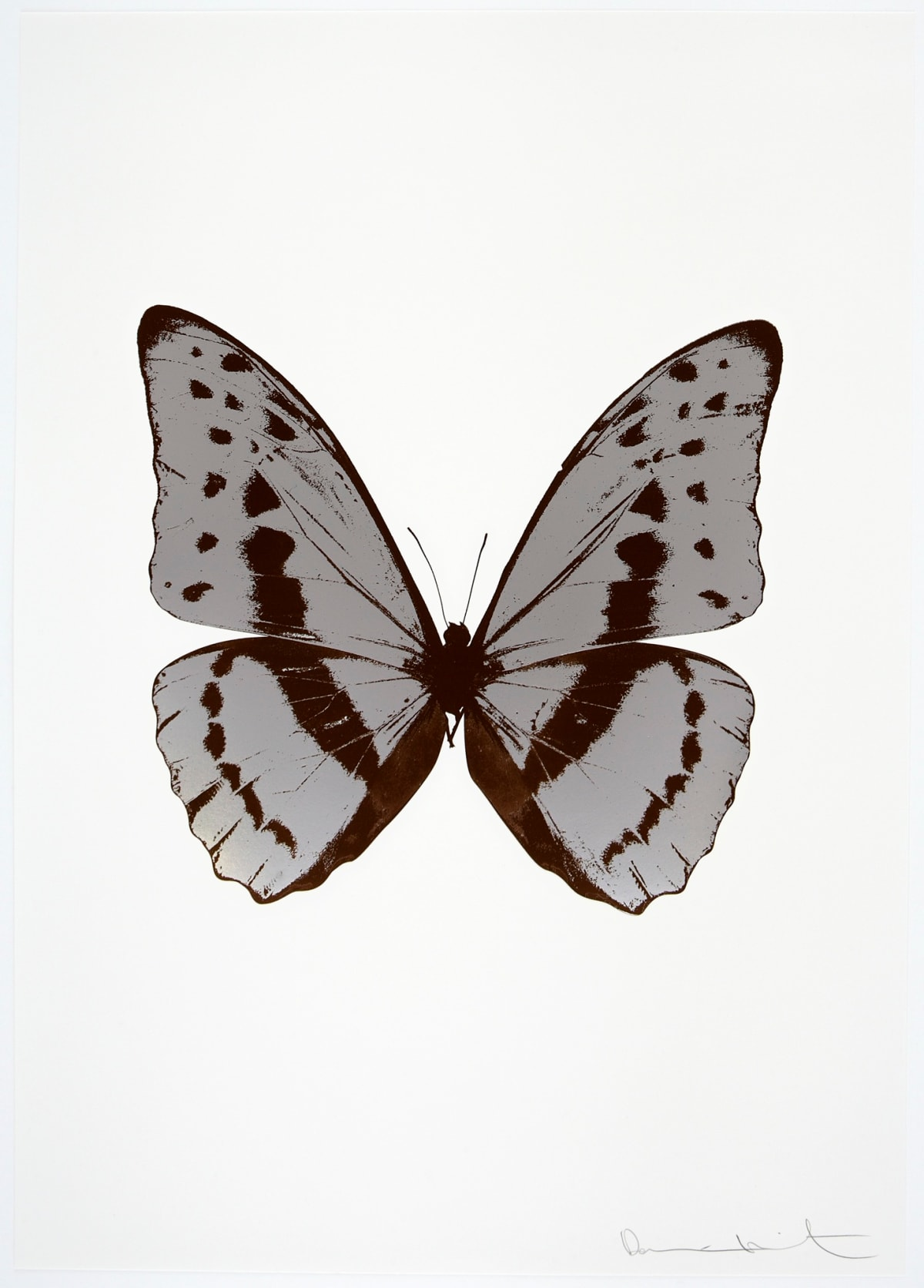 Damien Hirst The Souls III - Silver Gloss/Chocolate/Chocolate, 2010 2 colour foil block on 300gsm Arches 88 archival paper. Signed and numbered. Published by Paul Stolper and Other Criteria 72 x 51cm OC7923 / 660-26 Edition of 15