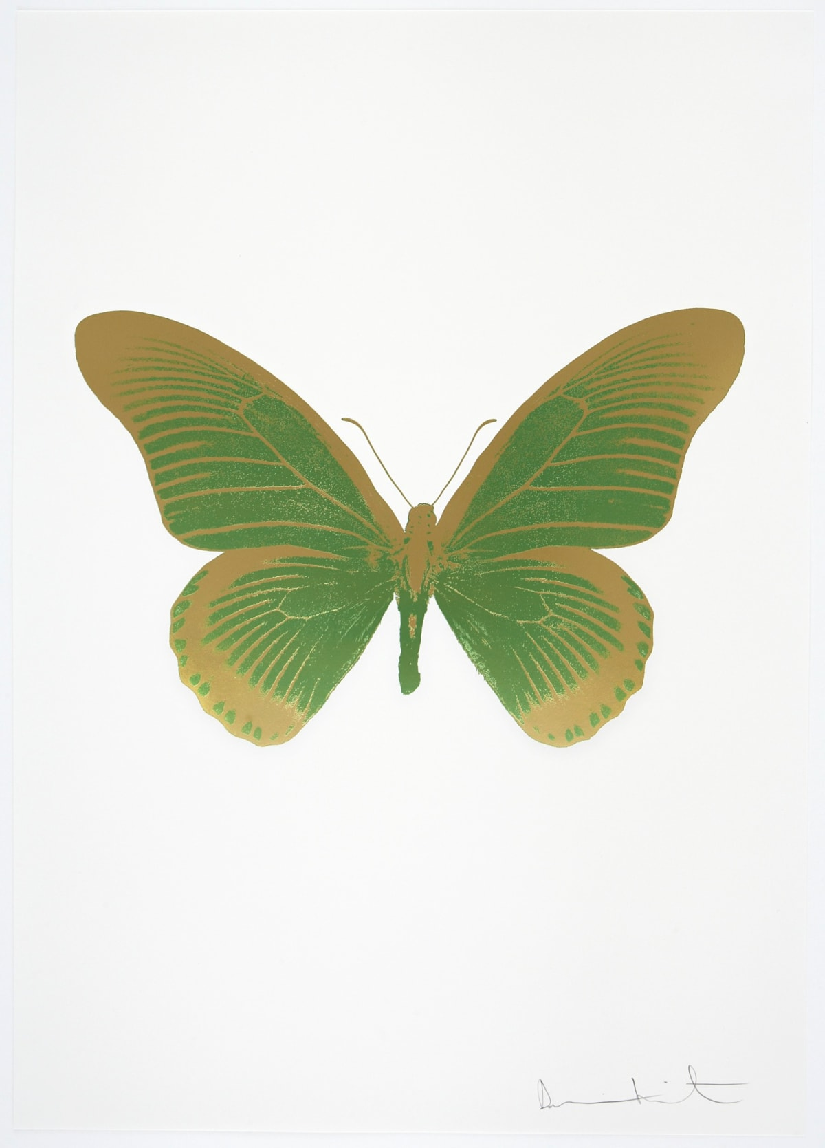 Damien Hirst The Souls IV - Leaf Green/Sunset Gold, 2010 2 colour foil block on 300gsm Arches 88 archival paper. Signed and numbered. Published by Paul Stolper and Other Criteria 72 x 51cm OC8003 / 1418-26 Edition of 15
