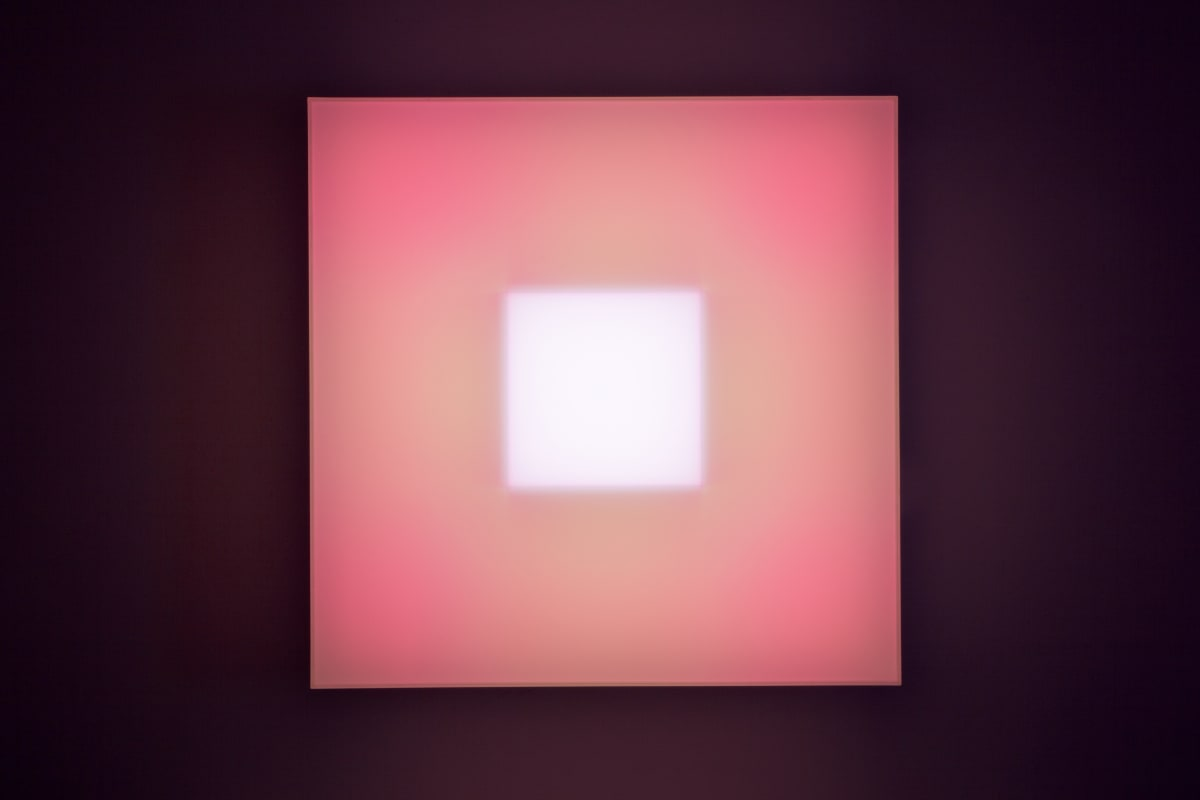 Brian Eno Two Fields, 2016 Light box: LED lights, perspex, wood, usb stick. Exhibited:Light Music 29.04-28.05.2016 Paul Stolper Gallery, London 65 x 65 x 19 cm