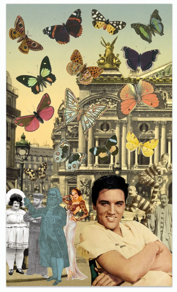 Peter Blake Elvis in Paris, 2019 Lenticular - Digital printing on PETG plastic. Signed and numbered by artist 67 x 39.5 cm 26 3/8 x 15 1/2 in Edition of 100