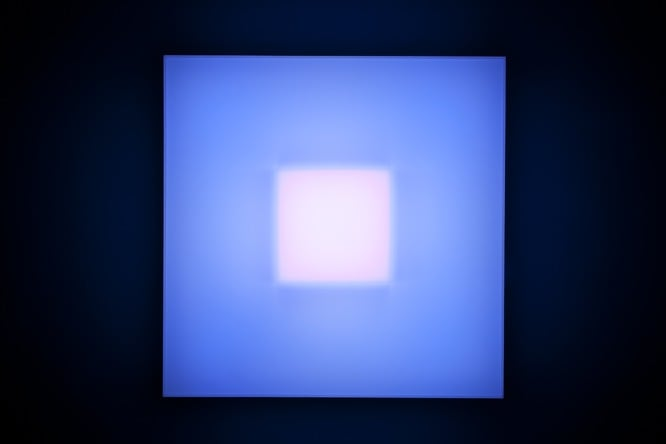 Brian Eno Asynchronous, 2016 Light box: LED lights, perspex, wood, usb stick. Exhibited:Light Music 29.04-28.05.2016 Paul Stolper Gallery, London 65 x 65 x 19 cm