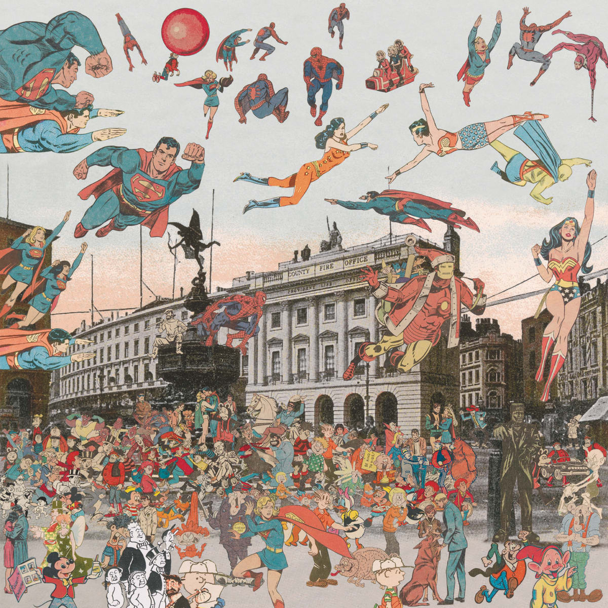 Peter Blake London- Piccadilly Circus- The Convention of Comic Book Characters, 2013 Inkjet and glaze on canvas Signed and numbered by the artist 128.8 x 130cm Edition of 8