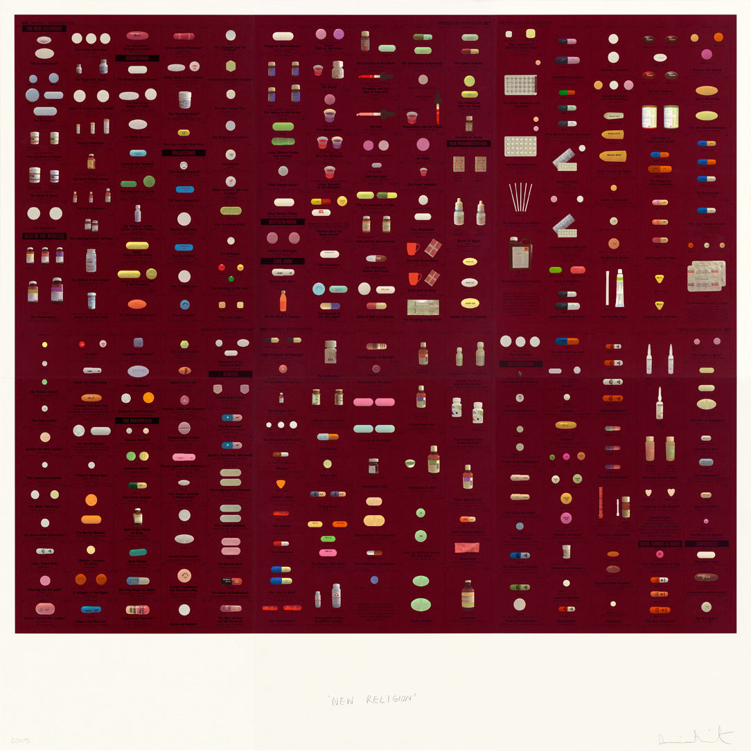 Damien Hirst New Religion (Wine), 2005 Silkscreen on Somerset satin 410gsm 6 sheets 200 x 200cm Edition of 155