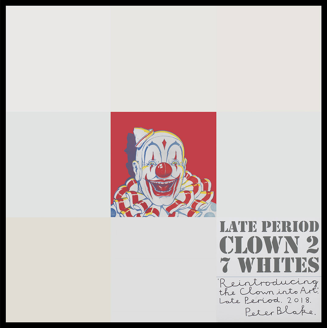 Peter Blake Late Period Clown 2: 7 Whites, 2018 Acrylic, enamel and inkjet print on wood panel Signed, titled and dated 94.2 x 94.2 cm