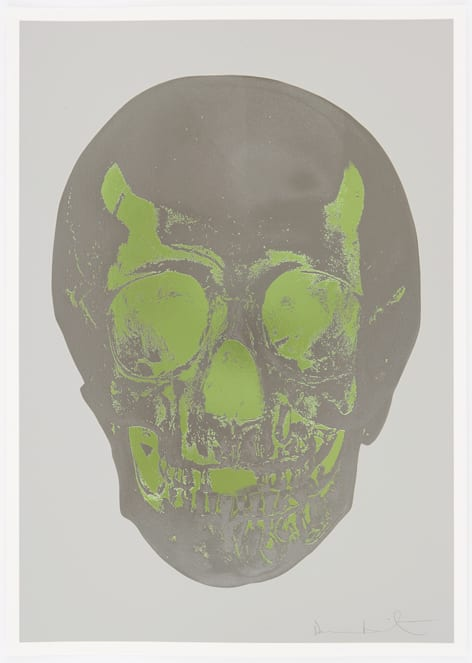 Damien Hirst Dove Grey Gunmetal Leaf Green Skull, 2012 Silkscreen,glaze and foilblock on 410gsm Somerset Satin. Signed and numbered. Published by Paul Stolper and Other Criteria. OC9411 52.2. x 37 cm Edition of 50