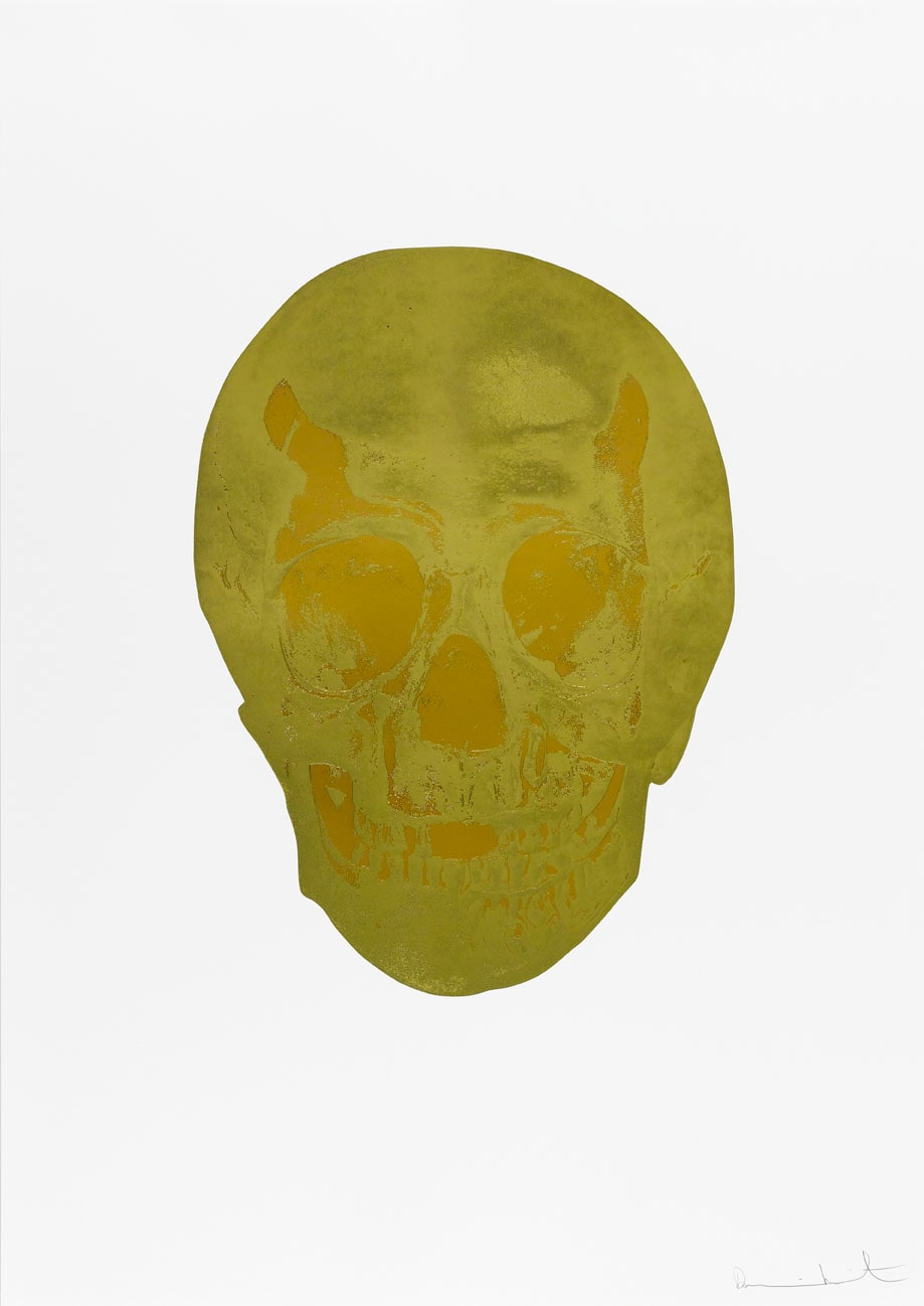 Damien Hirst Death Or Glory Sunset Gold/European Gold Glorious Skull, 2011 2 colour foil block on 300gsm Arches 88 archival paper. Signed and numbered. Published by Paul Stolper and Other Criteria. White aluminium powder coated frame. 72 x 51 cm; Framed 76.8 x 55.8 cm OC8371 Edition of 2