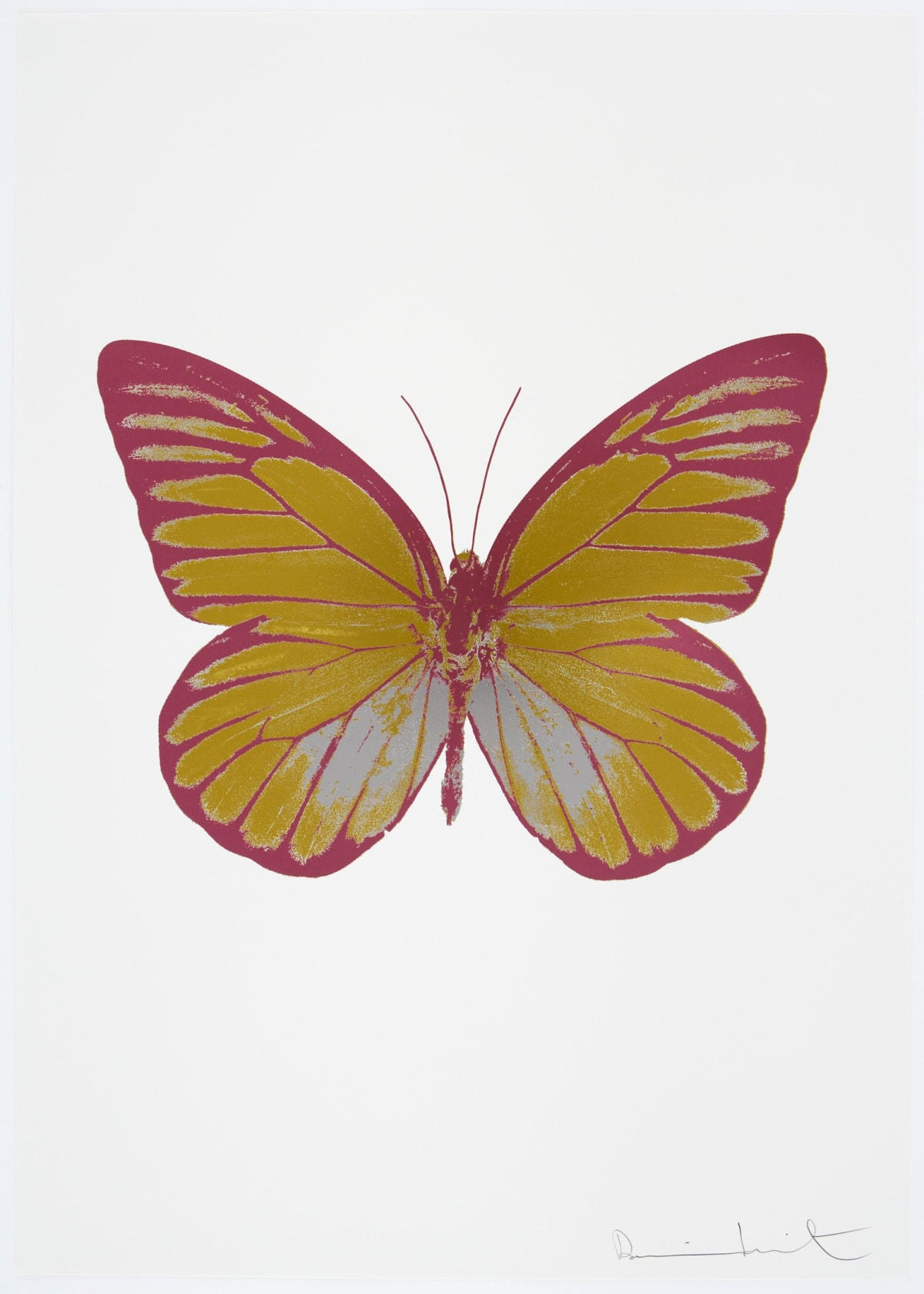 Damien Hirst The Souls I - Oriental Gold/Silver Gloss/Loganberry Pink, 2010 3 colour foil block on 300gsm Arches 88 archival paper. Signed and numbered. Published by Paul Stolper and Other Criteria 72 x 51cm OC7750 / 659-13 Edition of 15