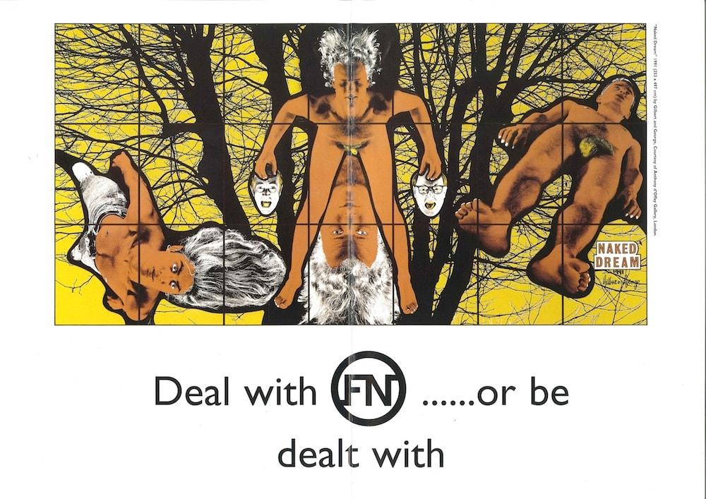 Deal with FN... or be dealt with, 1992/1993 From Gilbert and George 'Naked Dream' 1991 29.5 x 42 cm Edition of 17