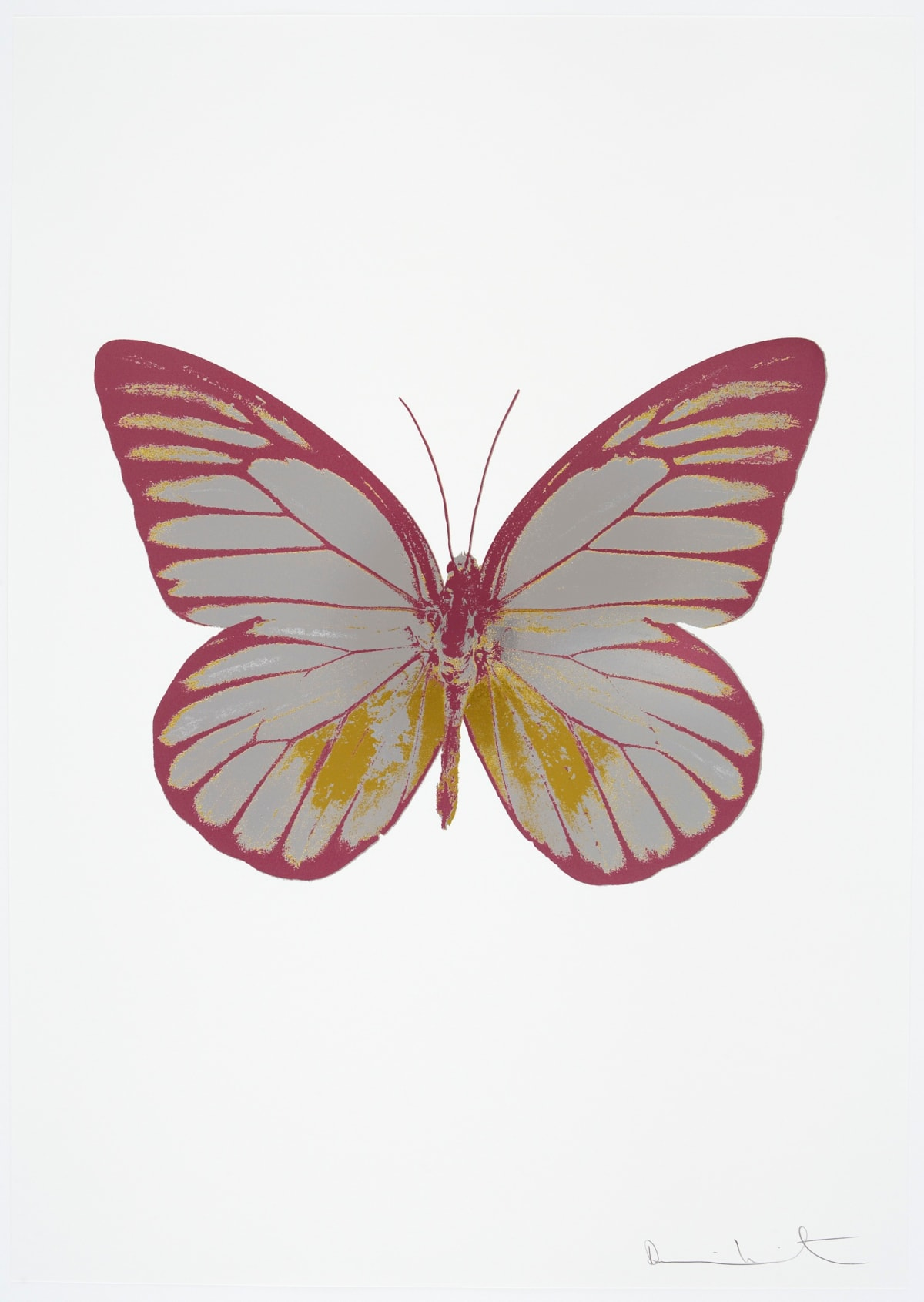 Damien Hirst The Souls I - Silver Gloss/Oriental Gold/Loganberry Pink, 2010 3 colour foil block on 300gsm Arches 88 archival paper. Signed and numbered. Published by Paul Stolper and Other Criteria 72 x 51cm OC7749 / 659-12 Edition of 15