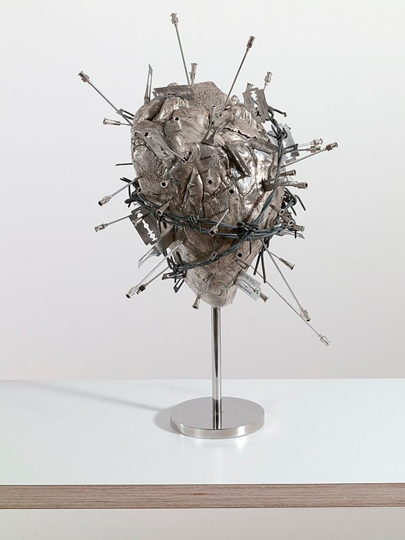Damien Hirst The Sacred Heart, 2005 Silver Signed and numbered 31 (44inc base) x 37cm 12.2 17.3 base x 14.6 ed.10