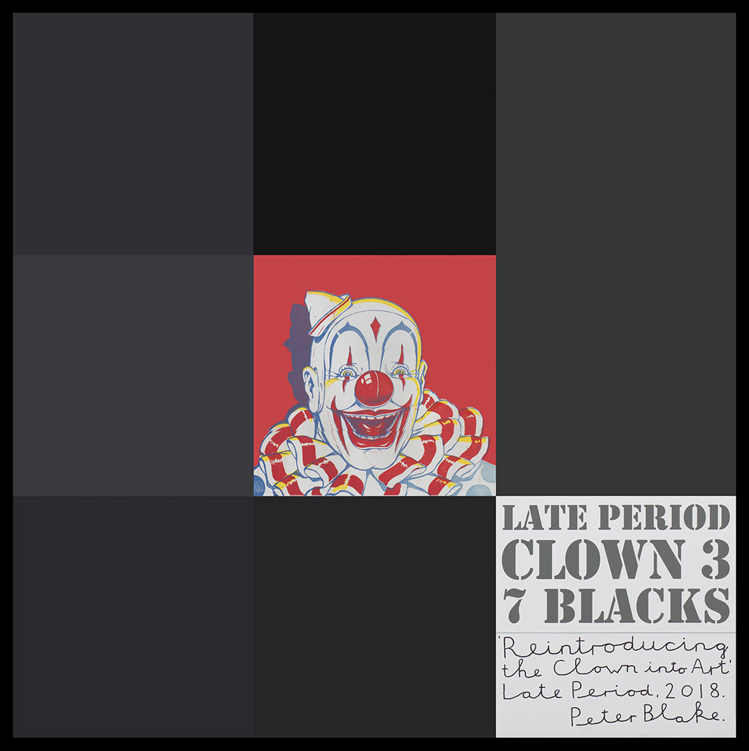 Peter Blake Late Period Clown 3: 7 Blacks, 2018 Acrylic, enamel and inkjet print on wood panel Signed, titled and dated 94.2 x 94.2 cm