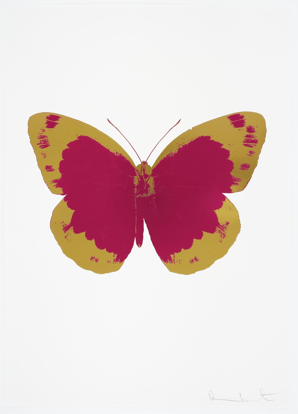 Damien Hirst The Souls II - Fuchsia Pink/Oriental Gold/Blind Impression, 2010 2 colour foil block on 300gsm Arches 88 archival paper. Signed and numbered. Published by Paul Stolper and Other Criteria 72 x 51cm OC7853 / 658-36 Edition of 15