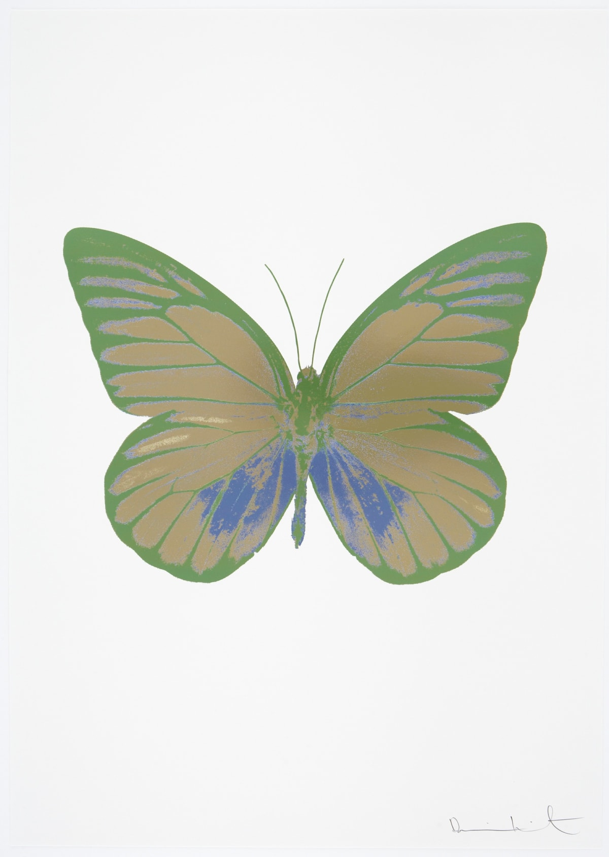 Damien Hirst The Souls I - Cool Gold/Cornflower Blue/Leaf Green, 2010 3 colour foil block on 300gsm Arches 88 archival paper. Signed and numbered. Published by Paul Stolper and Other Criteria 72 x 51cm OC7766 / 659-29 Edition of 15