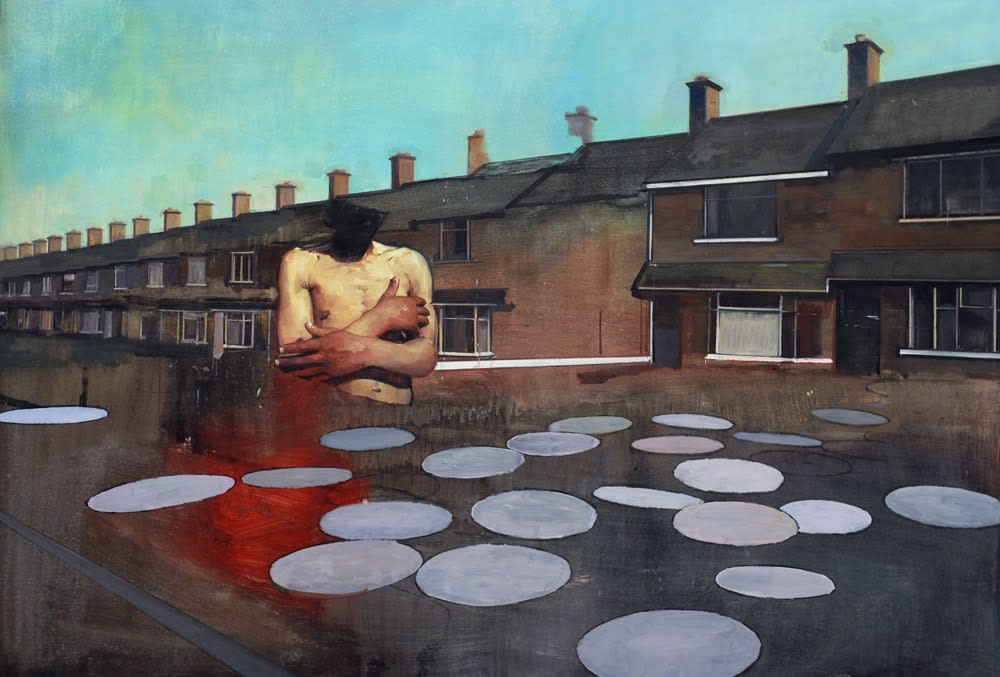 Andrew Hollis Torso with Houses and Circles, 2011 Oil and acrylic on linen. Signed and dated by the artist en verso. 120 x 170 cm 47.2 x 66.9 in