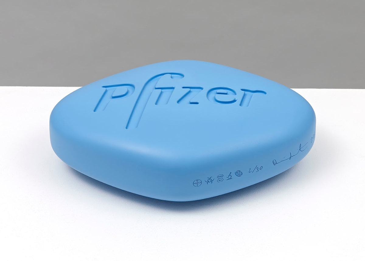 Damien Hirst Pfizer VGR 100mg (Baby blue) Polyurethane resin with ink pigment. 2014. Edition of 30. Numbered, signed and dated in the cast. Published by Paul Stolper and Other Criteria. OC10187 / DHS18303 L 28.5 x W 20 x H 9 cm L 11.2 x W 7.9 x H Edition of 30