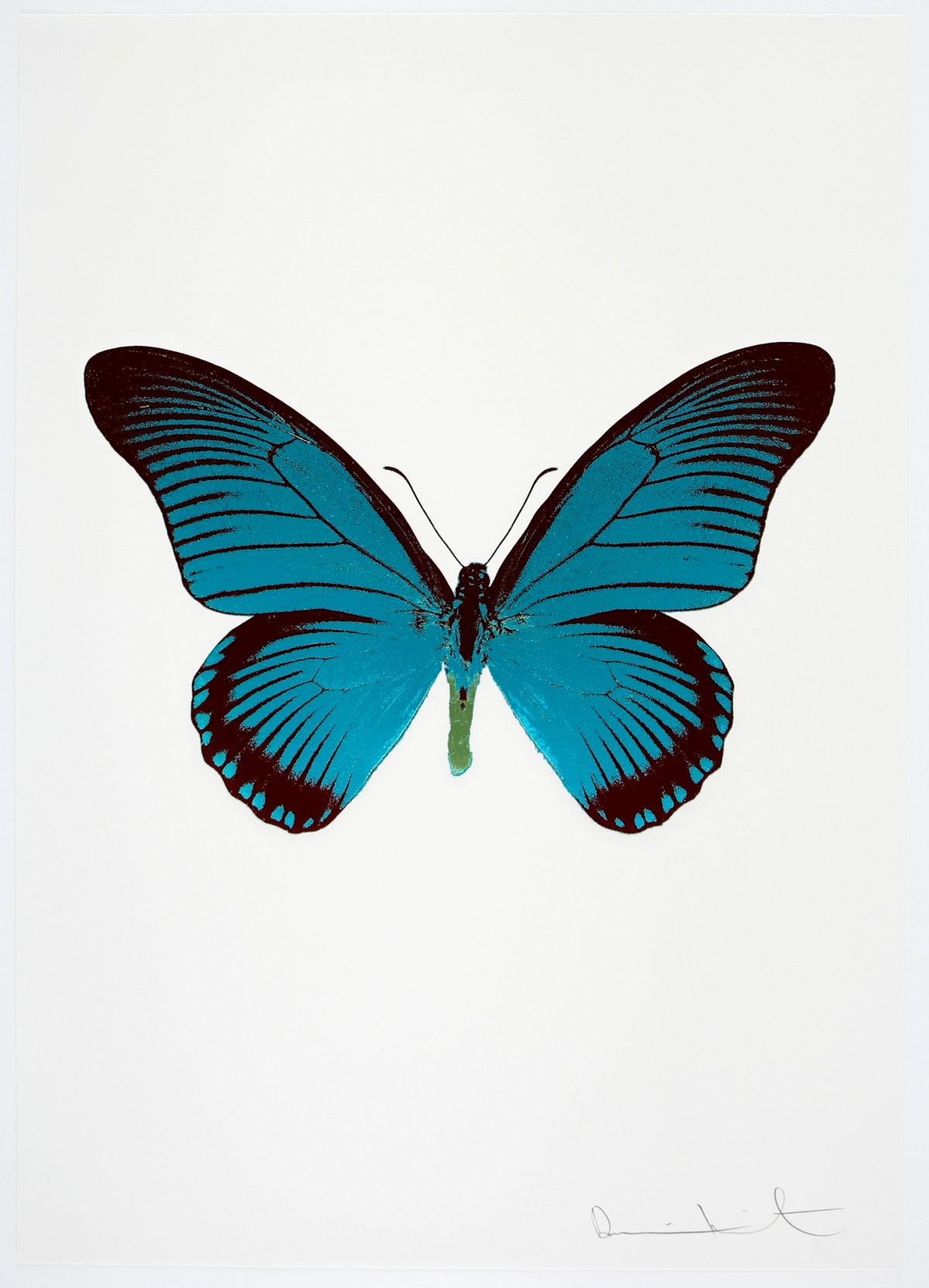 Damien Hirst The Souls IV - Topaz/Burgundy/Leaf Green Damien Hirst butterfly foil print for sale Damien Hirst print for sale , 2010 2 colour foil block on 300gsm Arches 88 archival paper. Signed and numbered. Published by Paul Stolper and Other Criteria 72 x 51cm OC7998 / 1418-21 Edition of 15